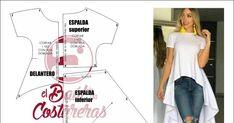 Cómo hacer una blusa asimétrica cola de pato, corta adelante y larga por detrás. Costura fácil, patrón de costura gratis para descargar e imprimir en casa Dress Sewing Patterns, Pattern Making, Diy And Crafts, Glamour, Denim, Blouse, Clothes, Dresses, Fashion