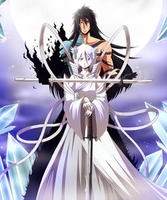 Black Sun and White Moon Anime Bleach Ichigo Kurosaki and Rukia Kuchiki  Bankai  Mugetsu