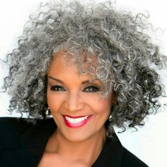 Creative ideas regarding excellent looking women's hair. Your own hair is without a doubt what can certainly define you as an individual. To several individuals it is undoubtedly important to have a great hair do. Hair and beauty. Grey Curly Hair, Grey Wig, Silver Grey Hair, Kinky Curly Hair, Curly Hair Styles, Natural Hair Styles, White Hair, Long Curly, Wavy Hair