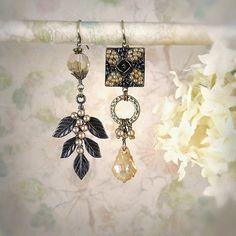 Items similar to The Beaded Garden, Black Champagne Dangle Earrings Unique Flower Leaf Earrings Earthy Micro Mosaic Beaded Earrings Woodland Bohemian Jewelry on Etsy Leaf Earrings, Unique Earrings, Chandelier Earrings, Beaded Earrings, Handmade Beaded Jewelry, Bohemian Jewelry, Punk Jewelry, Ethnic Jewelry, Vintage Jewelry