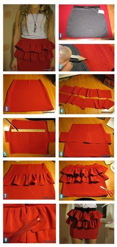 Faça Você Mesmo - Saia vermelha com babado duplo e zipper
