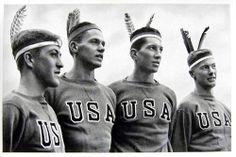 1936 Berlin Olympics Photograph - American Athletes in Indian Headdress.