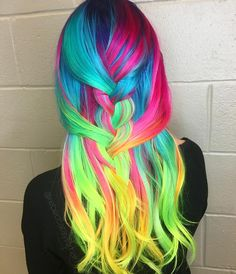 I'm loving seeing all of your Neon Hair Battle submissions ⚡⚡ Keep 'em coming and good luck! Maybe you'll get to come to LA to hang with Rob Dubre and myself ; Vivid Hair Color, Cute Hair Colors, Pretty Hair Color, Hair Dye Colors, Neon Hair, Ombre Hair, Pretty Hairstyles, Braided Hairstyles, Braided Locs