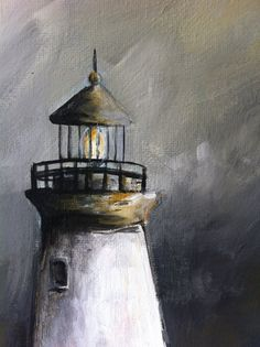 Lighthouse Acrylic Painting by HelloLexiArt on Etsy