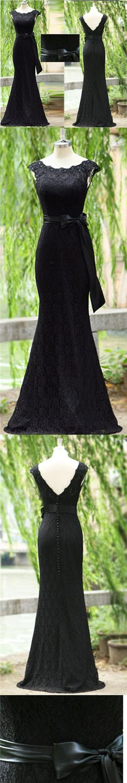Black Prom Dress Scoop Floor-length Lace Long Bowknot Prom Dress/Evening Dress JKL178