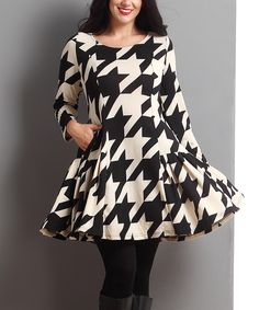 Look what I found on #zulily! Black & White Houndstooth Swing Dress - Plus by Reborn Collection #zulilyfinds