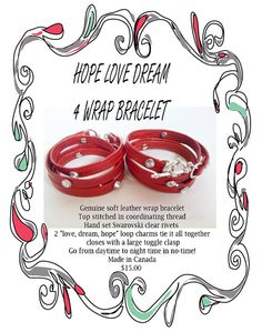 4 wrap leather bracelet with Swarovski crystal by PETALLEDESIGNS, $15.00 on ETSY