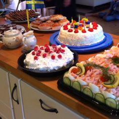 Swedish Birthday Celebration with Smorgastorta, Summer Strawberry Torte with vanilla cake & whipped cream icing, Daim Torte, Martas Skurna Chokladkakor cookies, Kanelsnurror Buns with cinnamon & sugar, Vanilla Cupcakes with powdered sugar frosting & sprinkles
