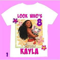 Moana+Girl+Birthday+T-shirt+,+Personalized+with+child+name+and+age.