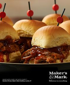 Looking for the perfect Kentucky-style sliders to serve at your horse racing festivities? Try these Maker's Mark Slow-Cooker Pulled Pork sandwiches and your party won't disappoint.     This savory, simple, hearty, Maker's-infused recipe is perfect for tender, juicy sliders that will keep everyone coming back for more. #MakeItDelicious