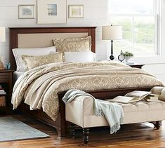 Cynthia Upholstered Storage Bed #potterybarn $2299  I like that this one has three drawers, so even if you don't use the one by nightstand, still have other two