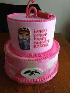 duck dynasty cake for a girl, pink camo, pink duck call, hand painted Uncle Si