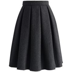 Chicwish Wool-blend Pleated Twill Skirt ($51) ❤ liked on Polyvore featuring skirts, chicwish, grey, grey skirt, knee length pleated skirt, gray pleated skirt, pleated skirt and wool blend skirt