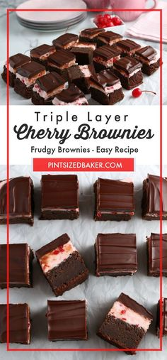 Brownie base. Cherry buttercream. Ganache topping! What more do you want in a dessert? These brownies are the perfect blend of soft and chewy and still hold up to the buttercream and chocolate layers. Everyone love it when I bring these brownies to a party! #brownies #brownierecipe #easydessert #layereddessert