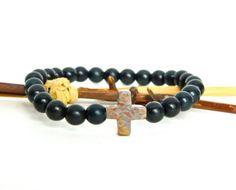 Mens Bracelet, Black Onyx Gemstone Stretch Bracelet, Red Creek Jasper Cross, by Studio3712Jewelry