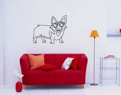 Wall Decor Vinyl Decal Sticker DOG IN GLASSES DA552 #Stickalz