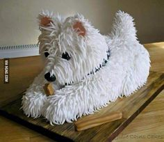 The Shaggy Dog Cake, by Julie Anne Cake Design. Often attempted, SELDOM done well. [Original caption: Westie, by Julie Cains Cakes. Crazy Cakes, Fancy Cakes, West Highland Terrier, Pretty Cakes, Cute Cakes, Kreative Desserts, Puppy Cake, Doggie Cake, Dachshund Cake