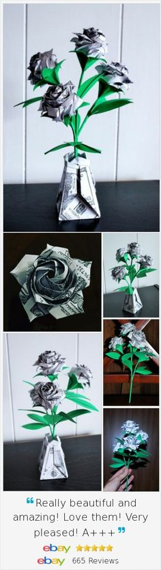 Origami Money Roses Paper flower bouquet Office decor businessman Gift