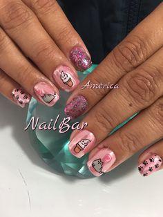 Uñas de acrílico, espejo rosa sellos