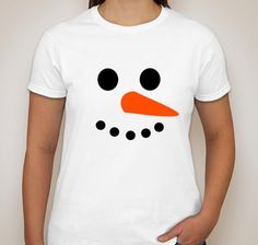 Snowman Face Christmas Novelty Funny T-Shirt Costume Gift Mens Womens Kids Childrens