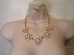 Matte Gold Tone Yellow-White Enamel Floral Bib Linked  Necklace & Earring Set #lovey