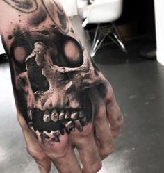 Evil Skull Hand Tattoo