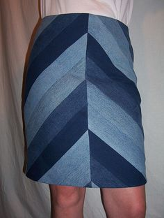 Reconstructed Bias Denim Skirt-Chevron by Diane Slade Inc, via Flickr  THIS IS AMAZING.