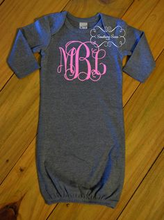 Gray Monogrammed Girls Infant Gown by SouthernSassByLC on Etsy