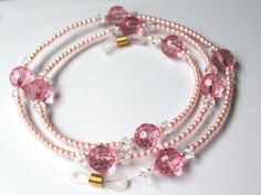 f009dec3f7e Pink Bead Necklace for Glasses Eyeglass Chain Pink Reading Pink Eyeglasses