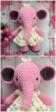 Crochet Elephant Amigurumi Easy Video Instructions You will love this selection of the cutest Elephants and we have a heap of FREE Patterns for you to try. Crochet Elephant Pattern Free, Crochet Baby Dress Free Pattern, Baby Cardigan Knitting Pattern Free, Elephant Applique, Crochet Animal Patterns, Stuffed Animal Patterns, Crochet Patterns Amigurumi, Crochet Blanket Patterns, Crochet Animals
