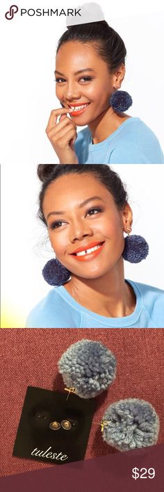 Ban.do Pom Pom Earrings Pretty light/dusty blue Pom Pom earrings bought from Band.o.  Brand is Tuleste.  Brand New never worn.  Will send in the original packaging. ban.do Jewelry Earrings