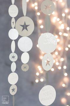 Es riecht nach Anis, Nelken und Zimt, Tannengrün und frischem Gebäck, Winterfreuden und Weihnachtszeit. Eine Kollektion für Weihnachtselfen, Tagträumer und Sternengucker. Kreisketten aus Papier, bedruckt, mit ausgestanzten Sternen.