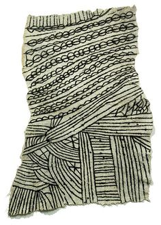conversationswiththelight: Made by the Mbuti pygmy of the Ituri Forest, this textile is made by beating a layer of tree bark until it is thin and pliable. The women choose the tree and the preparation and beating are done by men .The women then paint the designs, which are often symbolic, using a mixture of charcoal and fruit juice.
