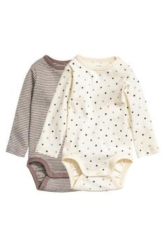 2-pack long-sleeved bodysuits | H&M