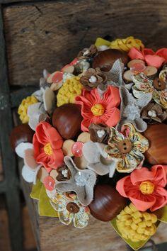 bouquet mariée automne tissus, papier, marrons, jaune, corail, marron www.inbloomforyou.com