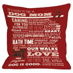 Lend a pop of typographic flair to your sofa, arm chair, or bed with this delightful pillow, showcasing a dog-themed motif in red. Made in the USA.