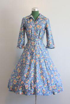 SALE / Vintage Dress / 1940s Dress / 40s 50s Blue Floral Dress / 50s Full Skirt Dress. $44.00, via Etsy.