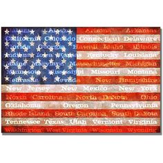 Trademark Art American Flag with States Canvas Wall Art by Michelle Calkins