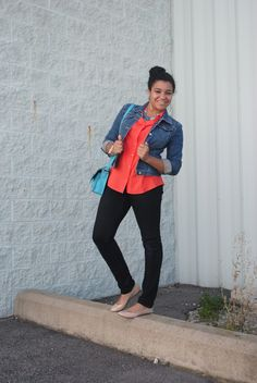 a great way to transition the summer trends into fall, add a denim jacket and leggings :)  Coral and turquoise were huge this summer, why not make them last through fall? #fashion