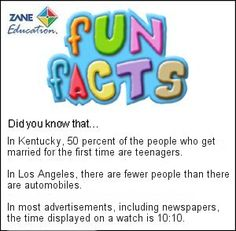 Fun Facts 92 from Zane Education at http://www.zaneeducation.com