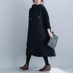 Loose Black Hoodie Thick Winter Dresses For Women FantasyLinen Fit S, Winter Dresses, Black Hoodie, Ready To Wear, Winter Jackets, Hoodies, Sleeves, How To Wear, Women