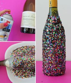 Confetti dipped wine - great hostess gift! Such an easy way to make a cheap bottle look fun and expensive.