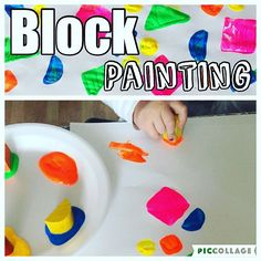 Block Painting! {We really like painting with random objects instead of paintbrushes!} {I love listening to Bree tell me all the colors and shapes she uses! I never knew how amazing it would be watching her learn and grow!} #toddlerfun #toddlerlife #toddlerplay #toddlerpainting #toddleractivities #toddleractivity #toddlerblocks #toddlerpaint