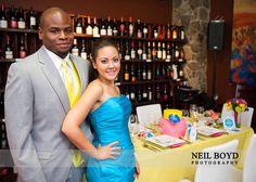 Neon Bright Wedding Exhibit. Bridesmaid dress, A Beautiful Day Bridal. Tuxedo, Bernard's Formalwear. Rentals, Party Reflections.