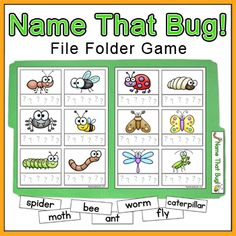 Name That Bug! File Folder Game by Pink Cat Studio - This insect naming game makes a great center activity for your students who love bugs. The handy file folder format makes the game easy to store and quick to find.