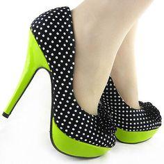 Black White Polka Dots Bow Green High Heel Platform Stiletto Club Pumps US 4-10