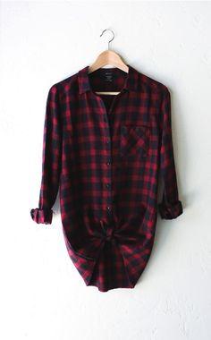Oversized Plaid Flannel Shirt - Burgundy