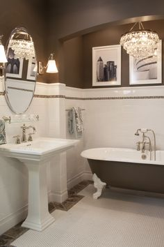 Ceramic subway tile wainscoting and hex mosaic is always a classic choice #thetileshop