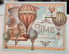 Time for Adventure Scrapbook Cards, Scrapbook Layouts, Scrapbooking, Air Balloon, Balloons, Graphic 45, Cardmaking, Vibrant Colors, Supply List