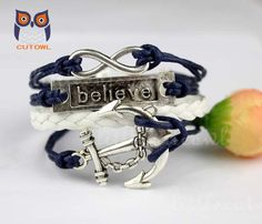Infinity believe that the anchor bracelet ancient by littlecuteowl, $4.99
